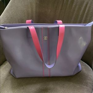 Bosca Leather Tote, Lilac with Pink
